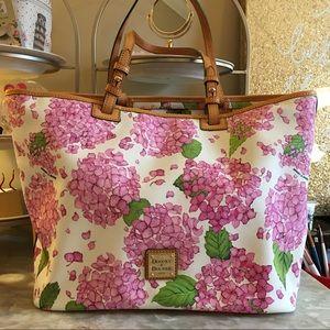 Dooney & Bourke Leather Pink Hydrangeas Tote NWOT